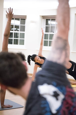 Side plank in a gym class