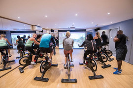 spin class with a virtual screen