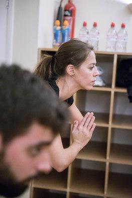 Woman finishing a yoga class