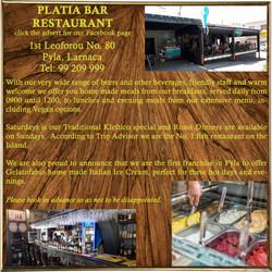 Platia Bar & Rstaurant - Advert 1