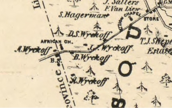 Detail from the 1850 Otley and Keily Map of Somerset County, New Jersey Published L. Van Derveer, Camden, N.J. 1850.