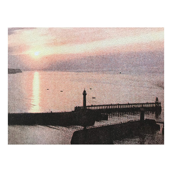 Two Piers at Sunset Riso