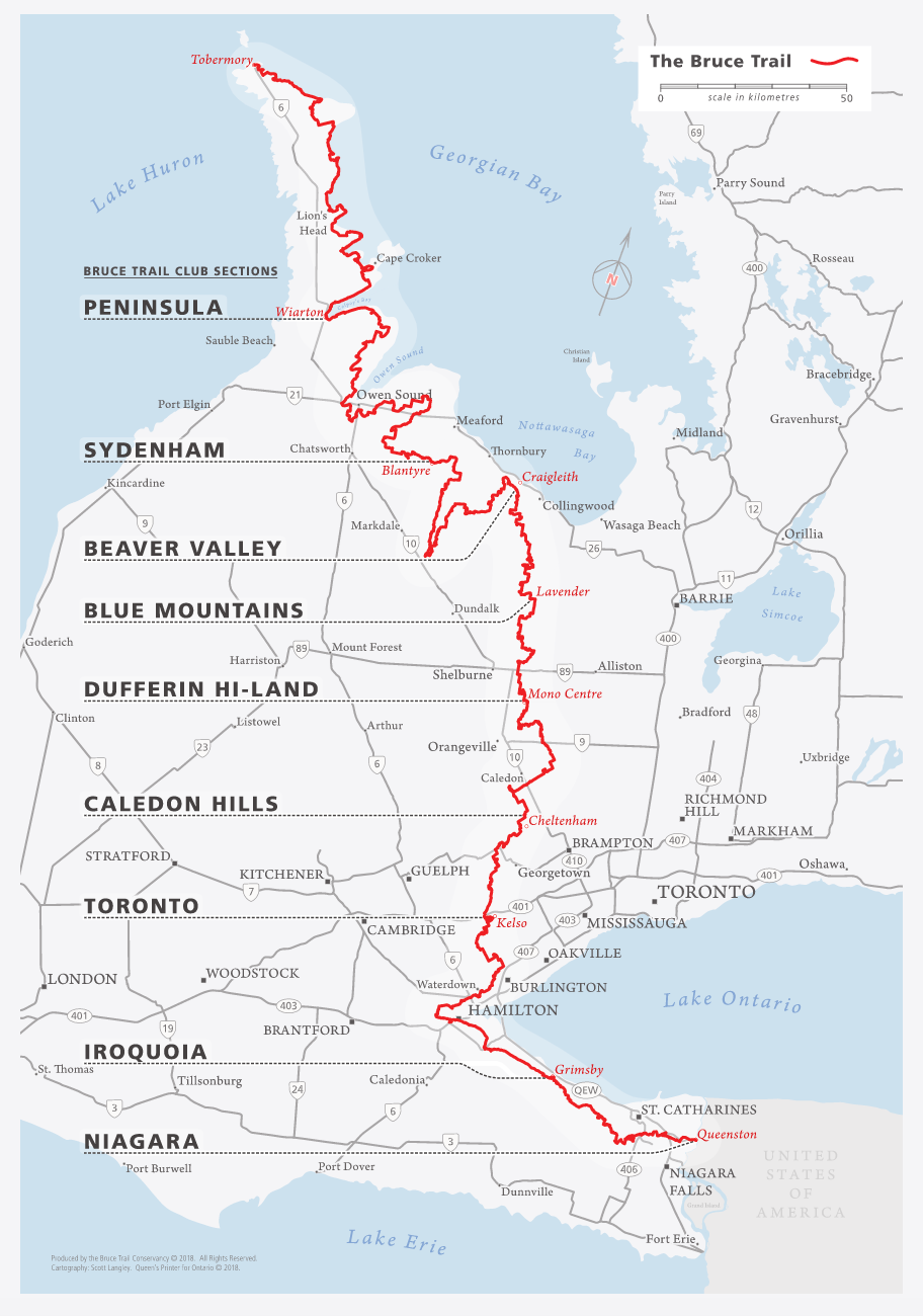 Map of The Bruce Trail