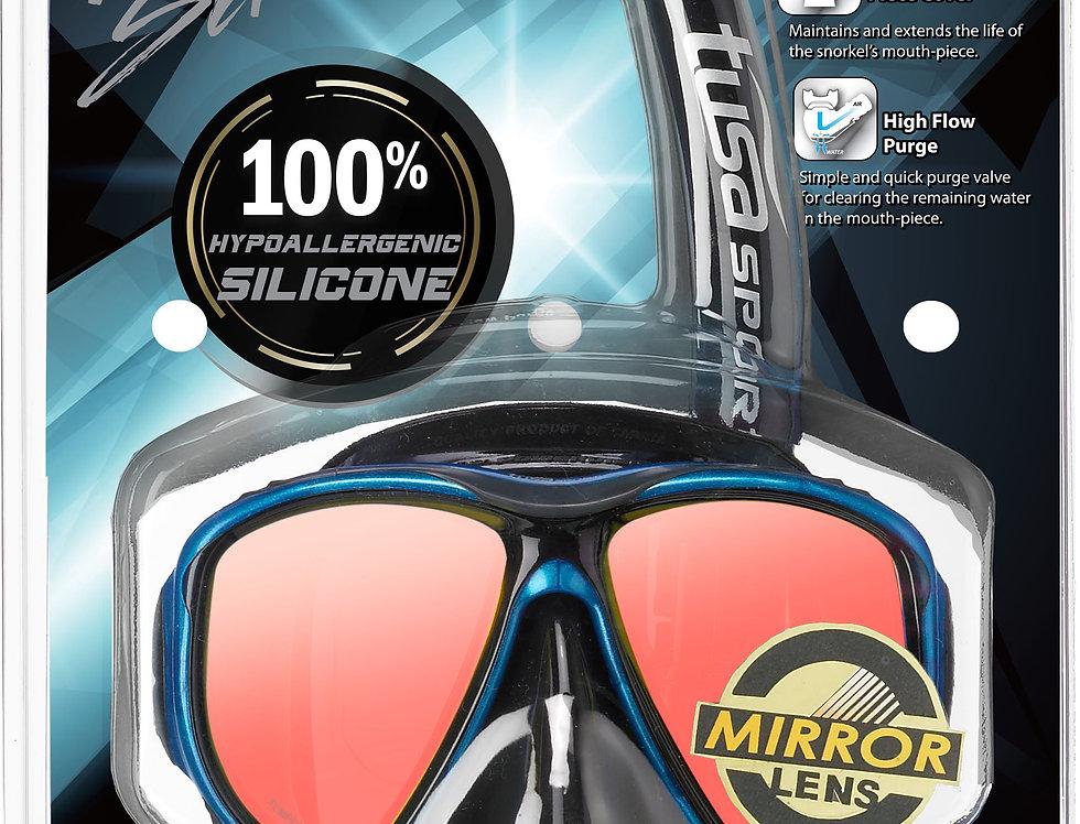 TUSA Powerview Dry Mirrored (Black Series) Mask & Snorkel Set - Adult