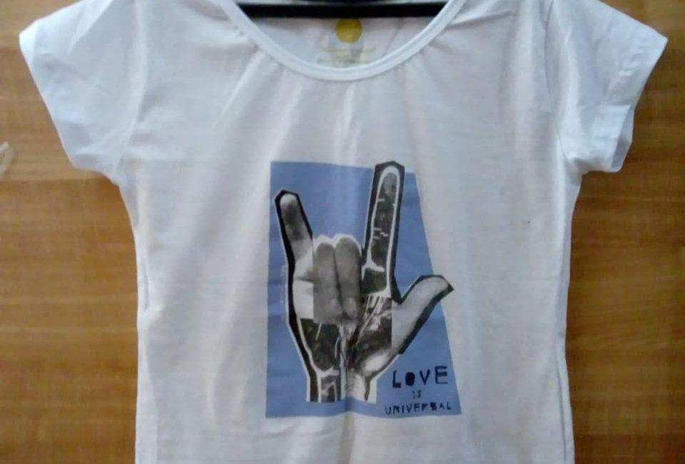 Camiseta Baby look teste ILY Promoção