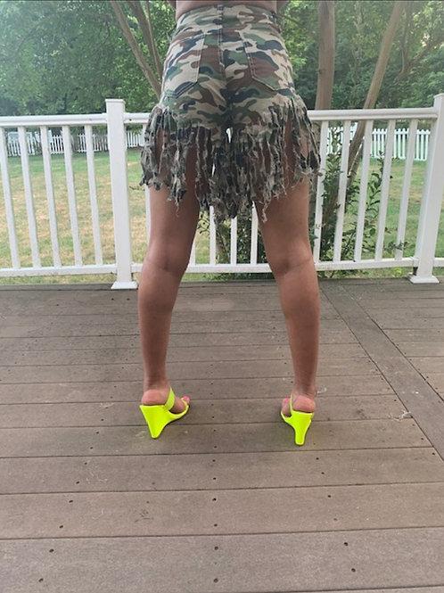 Camo Fringe Shorts