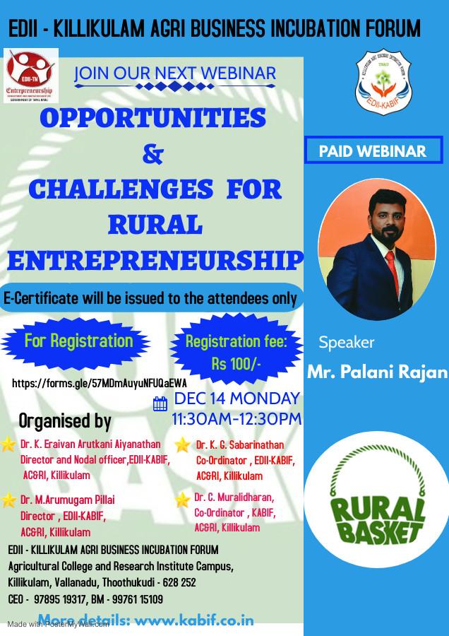 OPPORTUNITIES & CHALLENGES FOR RURAL ENTREPRENEURSHIP