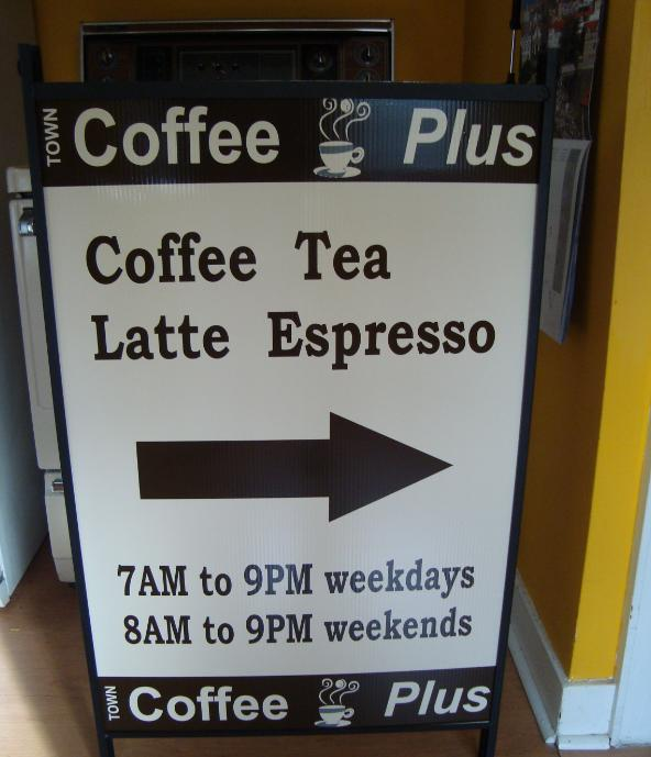 Coffee Plus directional sign