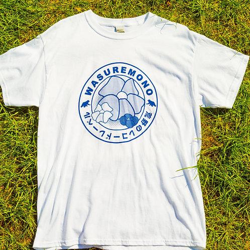 Wasuremono White T-Shirt w/ Blue Circular Logo