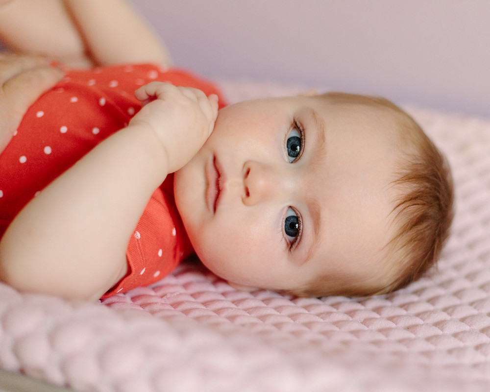 Portrait of an 8-month old for an in-home session in Pittsburgh, Pa by LeeAnn K Photography.