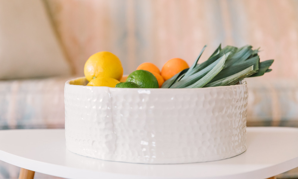 Ceramic bowl with fruit, personal brand photography by LeeAnn K Photography