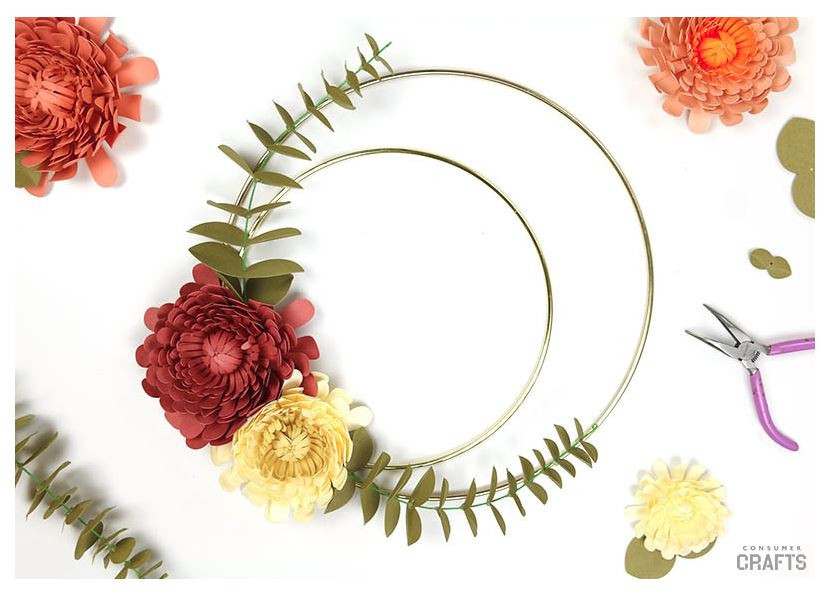 Consumer Crafts DIY Paper Flower Wreath - featured on LeeAnn K Photography Blog