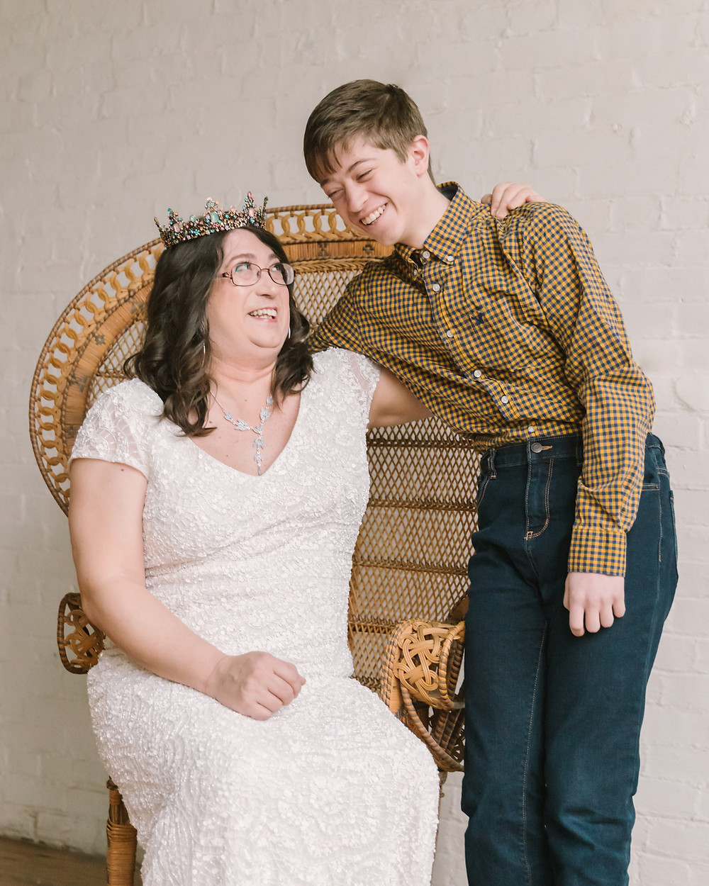 Editorial portrait of a transwoman and her son at hip at the flashlight factory by LeeAnn K Photography.