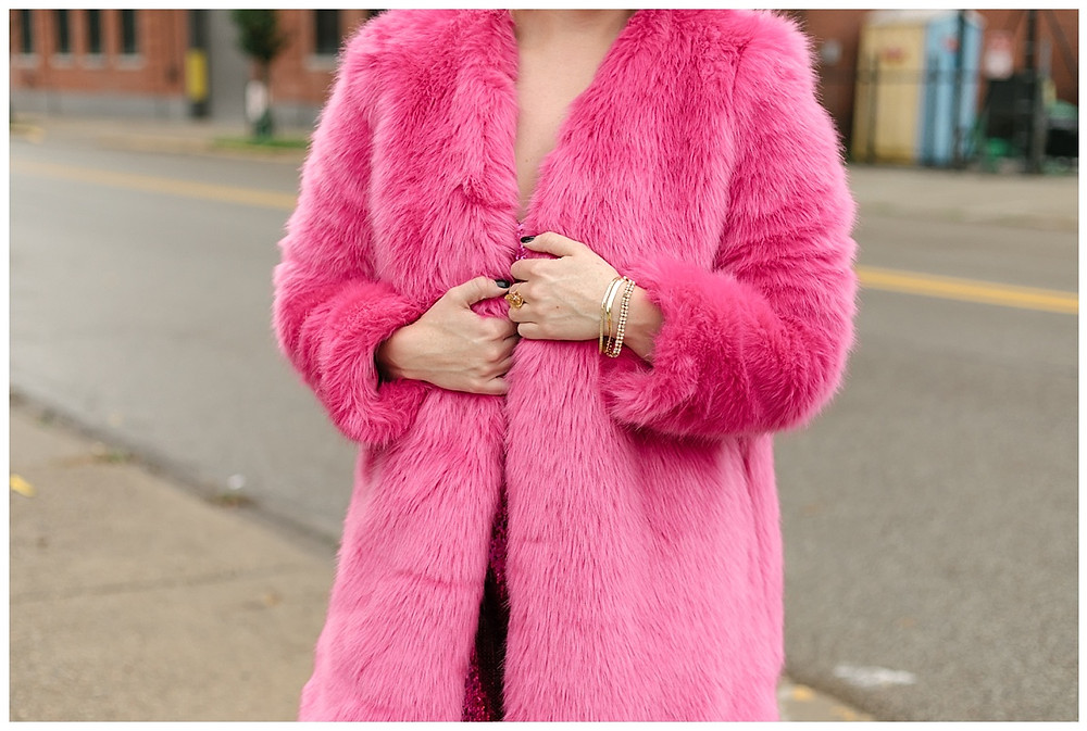 Pink sequin dress and pink fur coat styled by The Look. Photo by LeeAnn K Photography