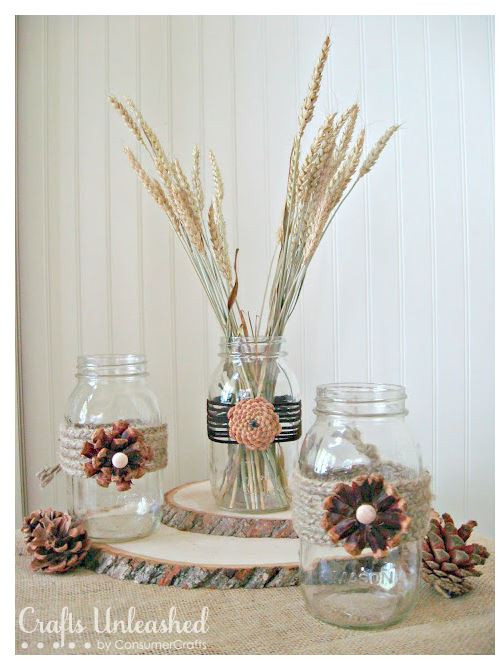 Crafts Unleashed Mason Jar Fall Decor - featured on LeeAnn K Photography Blog
