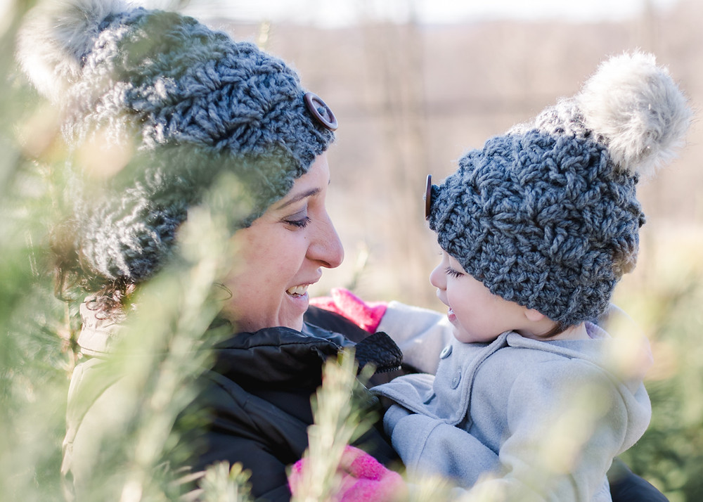Mother & daughter portrait near Christmas trees for holiday mini-sessions by LeeAnn Stromyer