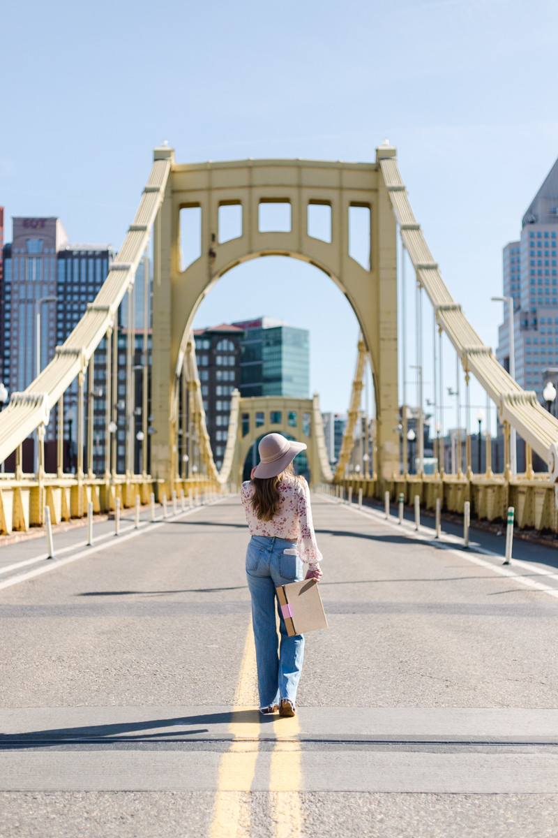 Pittsburgh Clemente bridge personal brand photography for local small businesses.