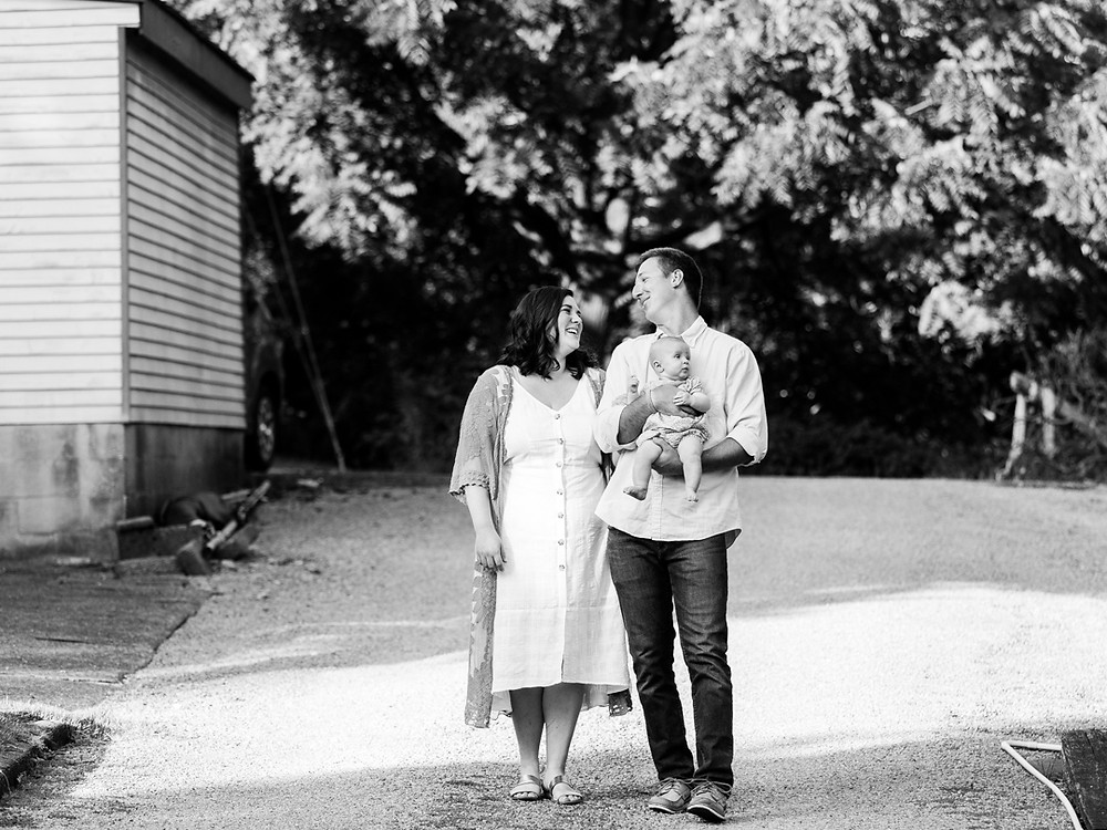 Black and white outdoor family portrait by LeeAnn K Photography