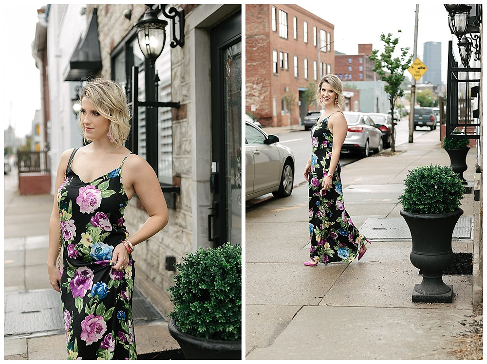 Classy floral strap dress style by Meredith of The Look, Photo by LeeAnn K Photography