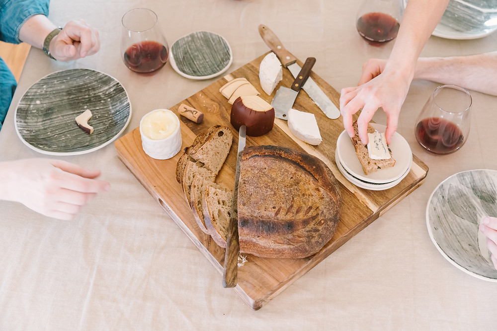 Bread and cheese platter with ceramic plates handmade, personal brand photography by LeeAnn K Photography