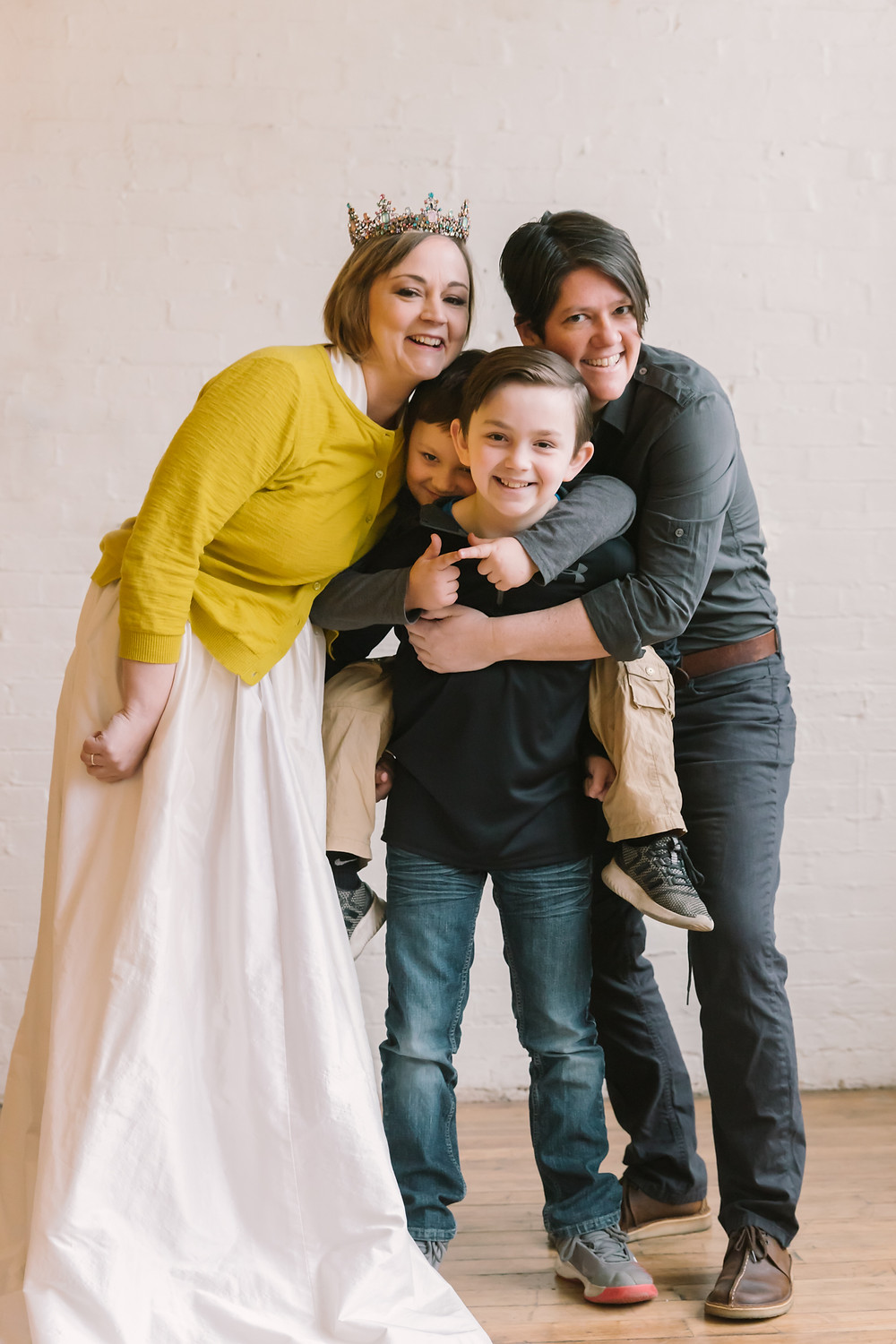 Editorial portrait of a same sex couple and their children by LeeAnn K Photography