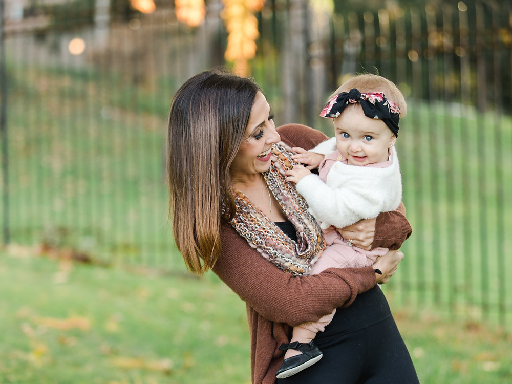 Outdoor fall family photo of a mother and her daughter in Mellon Park by LeeAnn Stromyer a Pittsburgh photographer.