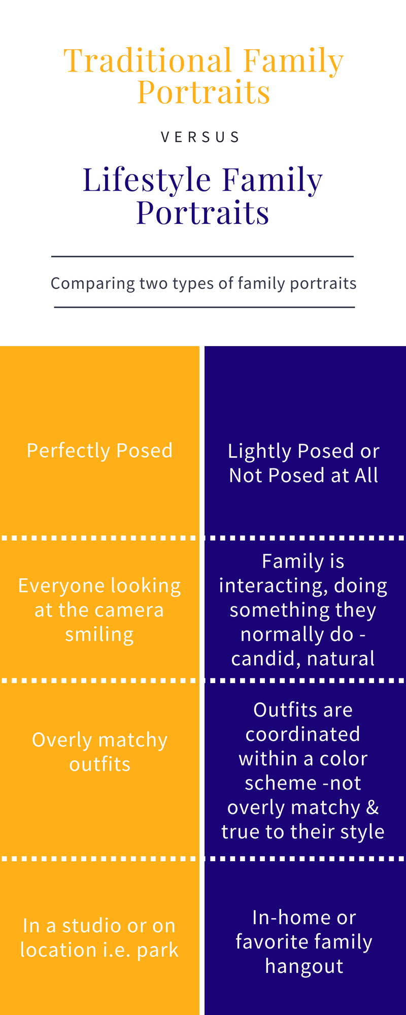 Chart summarizing Traditional family portraits verse lifestyle family portraits. LeeAnn K Photography