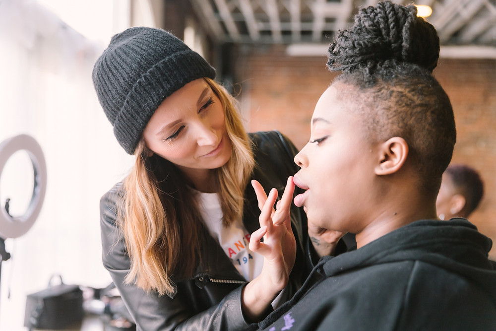 Behind the scenes of hair and makeup for motherhood shoot by LeeAnn K Photography in collaboration with grlpwrpgh at Hip at the Flashlight Factory.