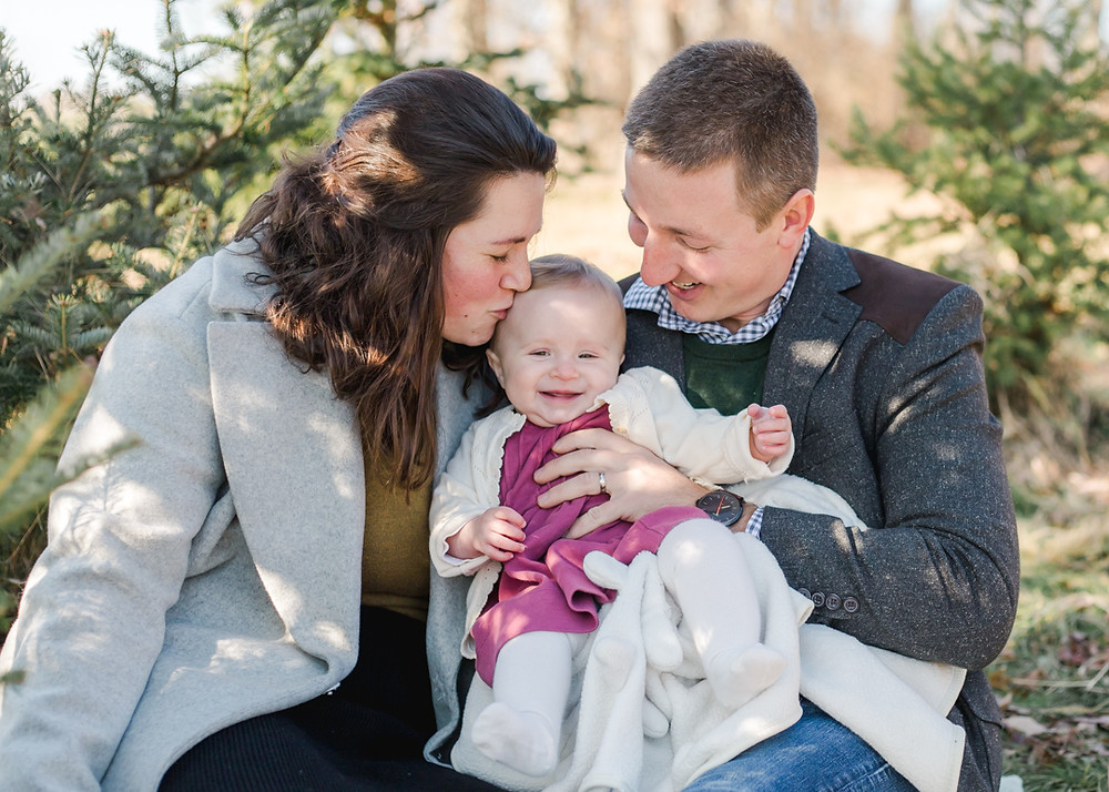 Family portrait from a Christmas mini-session at nutbrown's tree farm by LeeAnn K Photography