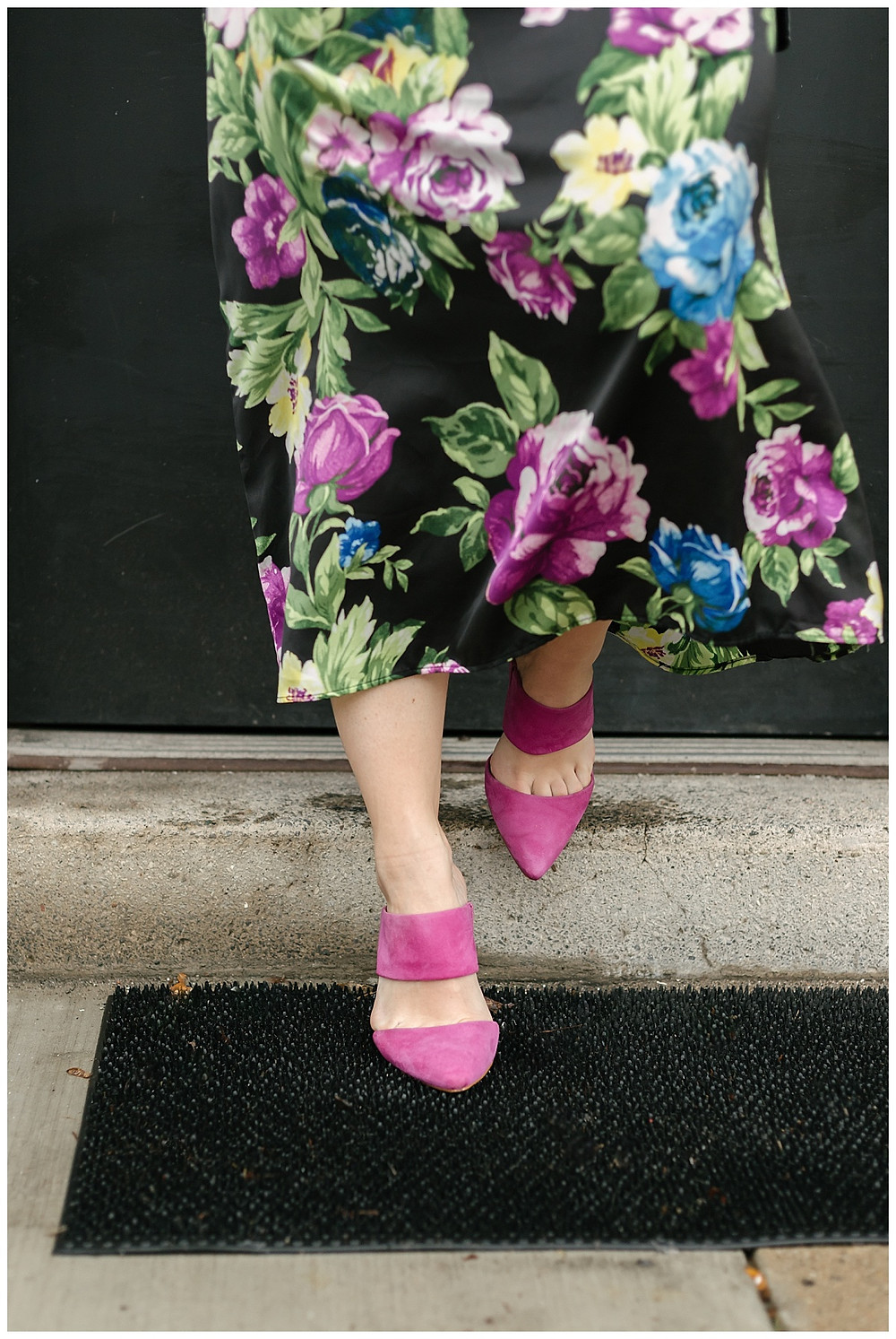 Beautiful pink pumps styled with a floral dress by The Look, photo by LeeAnn K Photography