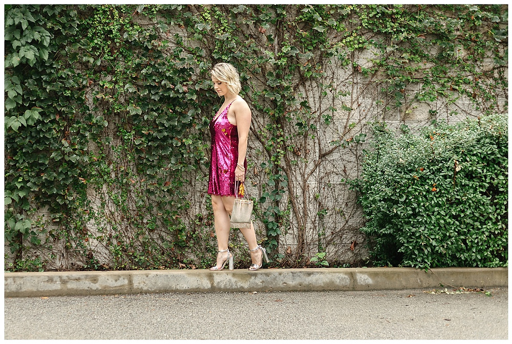 Pink sequin dress and silver purse styled by The Look. Photo by LeeAnn K Photography