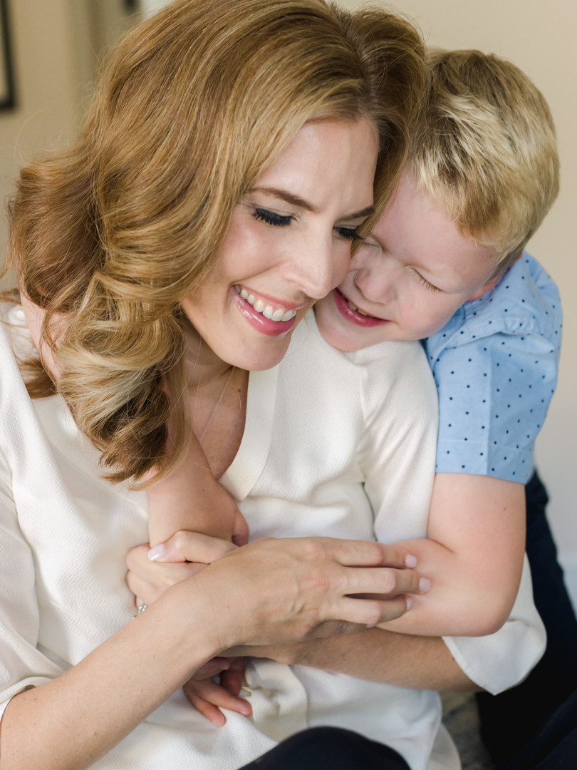 Candid mother and son portrait for an in-home family session in Wexford, PA by LeeAnn K Photography