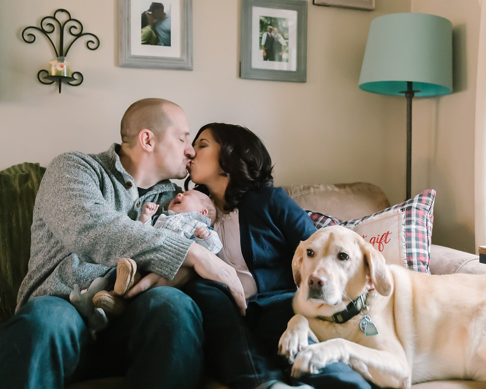 In-homeFamily Photos with Newborn and dog in Pittsburgh, pa by LeeAnn K Photography