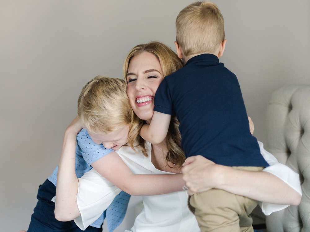 Candid mother and her sons portrait for an in-home family session in Wexford, PA by LeeAnn K Photography