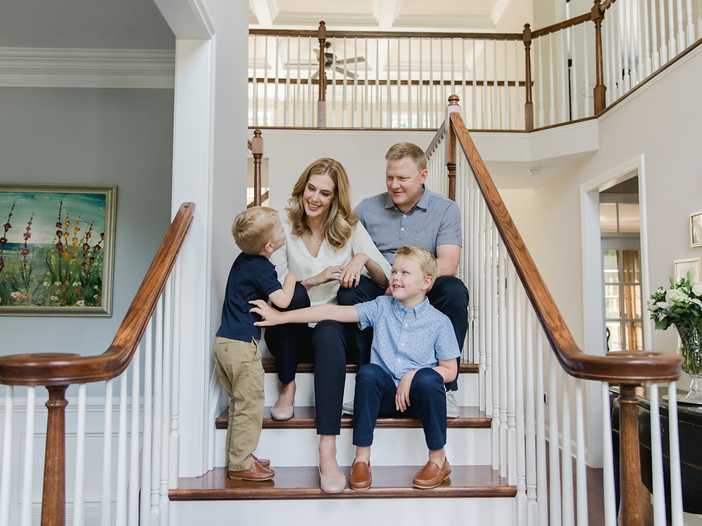 In-home family portrait in Wexford, Pa by LeeAnn K Photography.