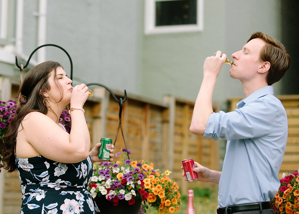 Couple taking a shot after surprise proposal! Photo by LeeAnn Stromyer in Pittsburgh Pa