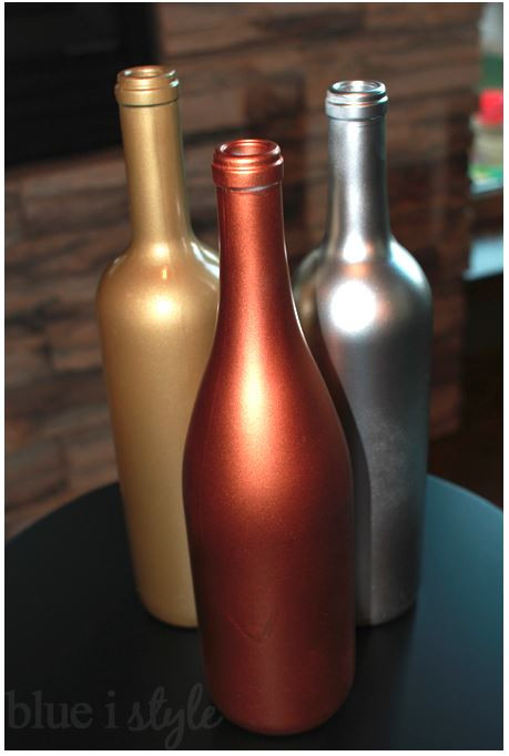 Blue i Style Metallic Wine Bottles - feature on LeeAnn K Photography blog
