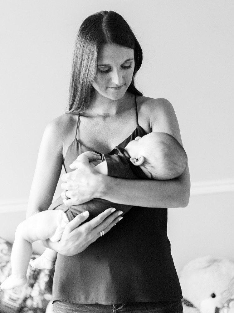Black and white portrait of a mom and her baby in their home by Pittsburgh photographer LeeAnn Stromyer