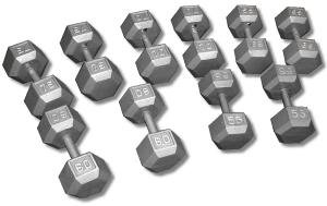 CAST IRON HEX DUMBBELL SET 55-75 LBS DB55-75