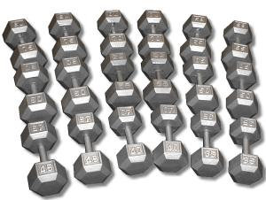 CAST IRON HEX DUMBBELL SET 35-75 LBS DB35-75