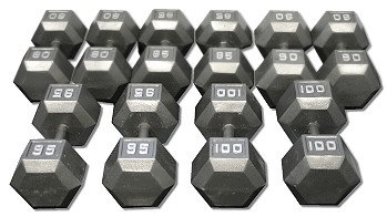 CAST IRON HEX DUMBBELL SET 80-100 LBS DB80-100