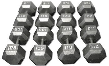 CAST IRON HEX DUMBBELL SET 105-120 LBS DB105-120