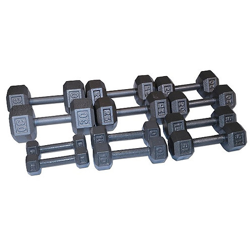CAST IRON HEX DUMBBELL SET 5-30 LBS. DB5-30