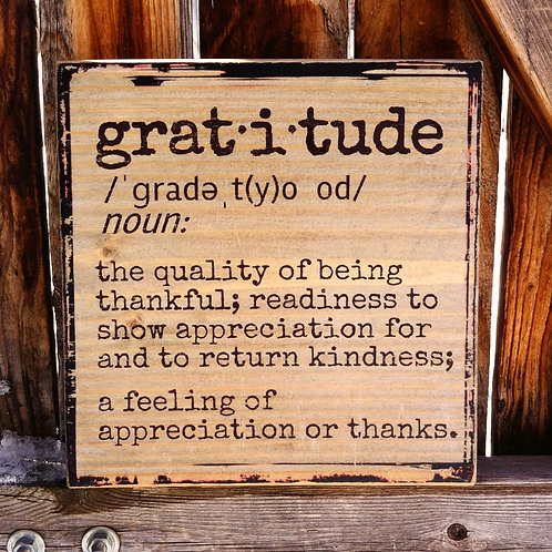 Gratitude Dictionary Definition - Wooden Shelf Decor or Wall Hanging