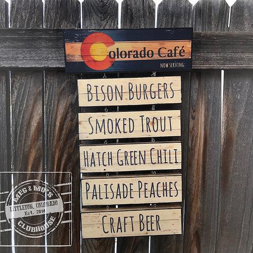 Colorado Cafe Hanging Menu Sign, Colorado Flag Logo, Mile High State, Denver Dec