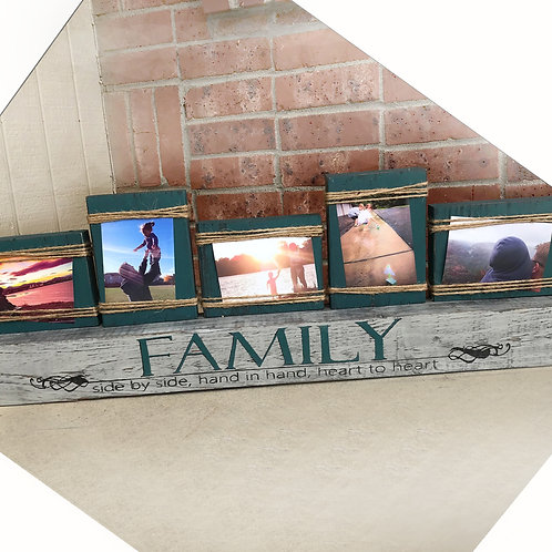 Rustic Farmhouse Mantle Photo Display