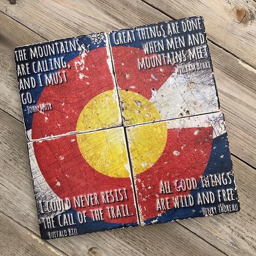 Colorado Stone Coasters, Set of 4, Colorado Flag, Adventure Quotes