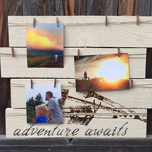 Adventure Awaits Rustic Photo Board