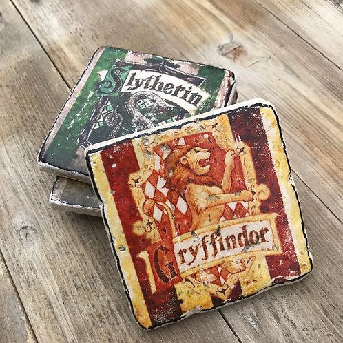 Harry Potter Coasters, Set of 4, Stone Tile Coasters, Hogwarts Houses