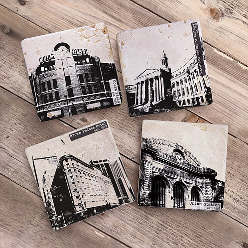 Downtown Denver Stone Coaster Set, Colorado Gifts, Tile Coasters, Coors Field